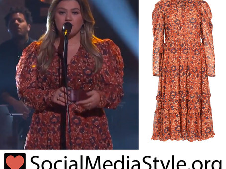 Kelly Clarkson's orange floral print dress from The Kelly Clarkson Show
