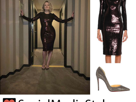 """Elisabeth Moss' sequin dress and glitter pumps from the """"The Invisible Man"""" premiere"""