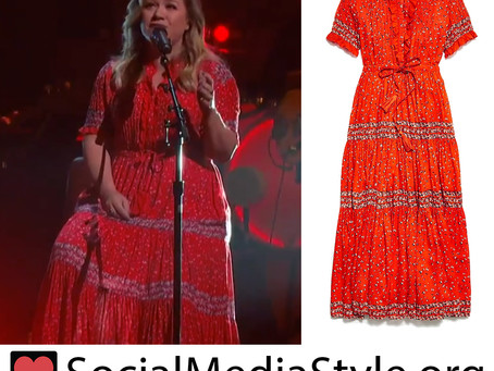 Kelly Clarkson's red floral print dress from The Kelly Clarkson Show