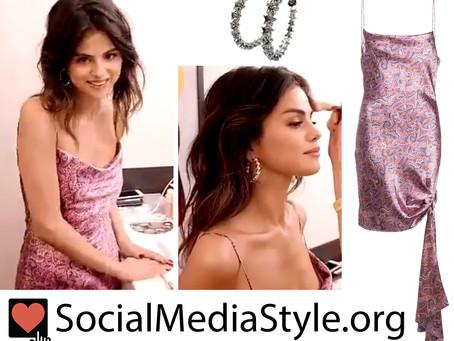 Selena Gomez's star hoop earrings and paisley dress from the Baila Conmigo video