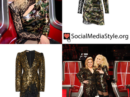 Gwen Stefani's sequin camo and leopard lace dress and Kelly Clarkson's sequin and feather dress