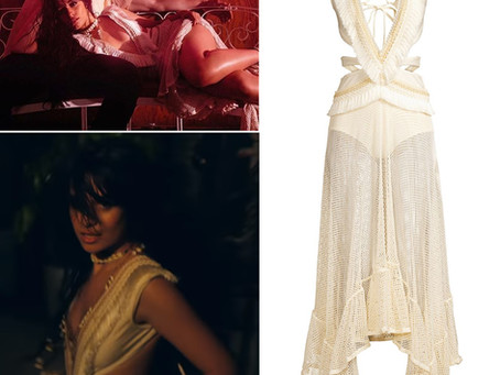 "Camila Cabello's cream cutout dress from the ""Señorita"" music video"