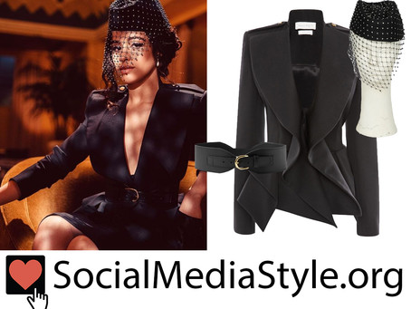 Camila Cabello's crystal mesh veil fascinator, peplum blazer, and leather belt