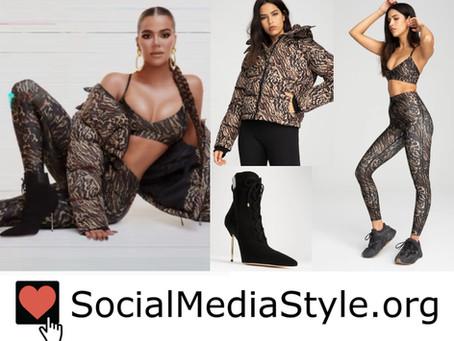 Khloe Kardashian's Good American jaguar print puffer jacket, sports bra, & leggings, and black boots