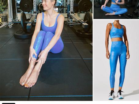 Brie Larson's blue sports bra and leggings