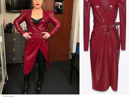 Kelly Clarkson's burgundy latex dress from The Voice