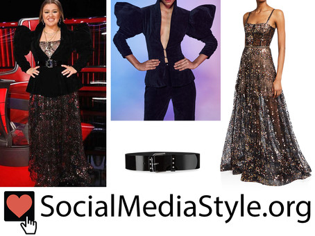 Kelly Clarkson's velvet puff sleeve jacket, sequin gown, and belt from The Voice