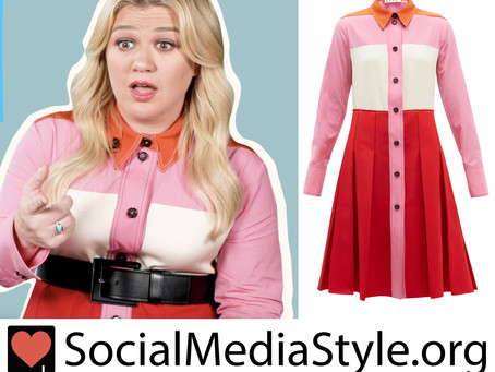Kelly Clarkson's colorblock shirtdress from The Kelly Clarkson Show