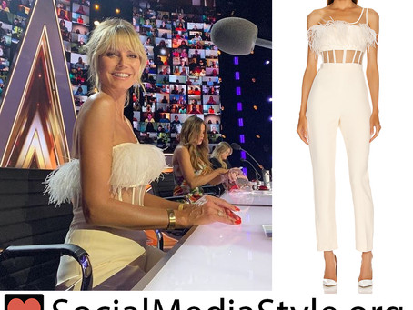 Heidi Klum's white one shoulder feather corset jumpsuit from America's Got Talent