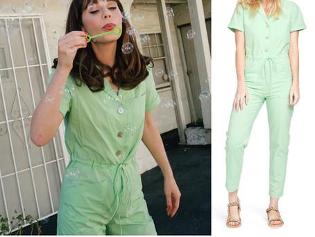 Zooey Deschanel's green jumpsuit
