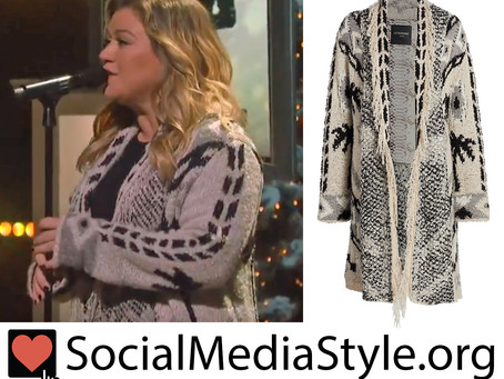 Kelly Clarkson's palm tree print fringed cardigan from The Kelly Clarkson Show