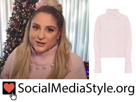 Meghan Trainor's pink pearl embellished sweater