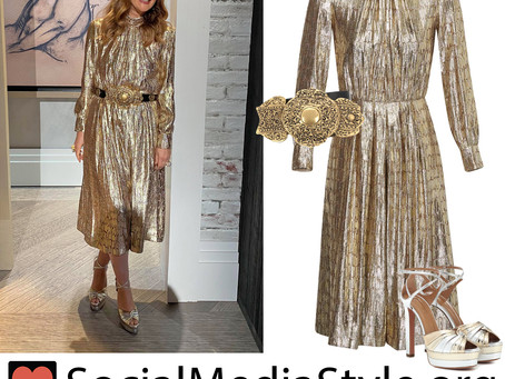 Drew Barrymore's gold jumpsuit, belt, and sandals from the 2020 MTV Video Music Awards