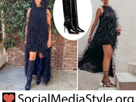 Vanessa Hudgens' black feather dress and knee-high boots