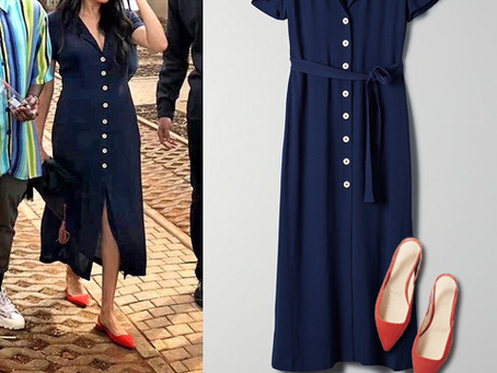 Meghan Markle's navy shirt dress and red flats