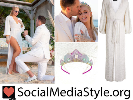 Paris Hilton's mermaid crown and white sequin dress from her engagement