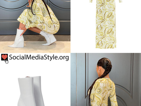 Kylie Jenner's yellow swirl print dress and white wedge boots