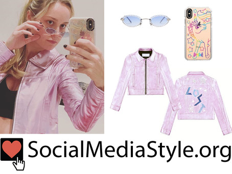 Brie Larson's crystal embellished sunglasses, unicorn phone case, and pink jacket