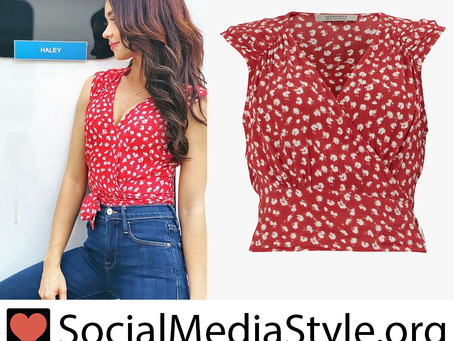 Haley (Sarah Hyland)'s red print wrap top from Modern Family