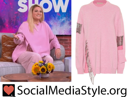 Meghan Trainor's pink crystal fringe embellished sweater from The Kelly Clarkson Show