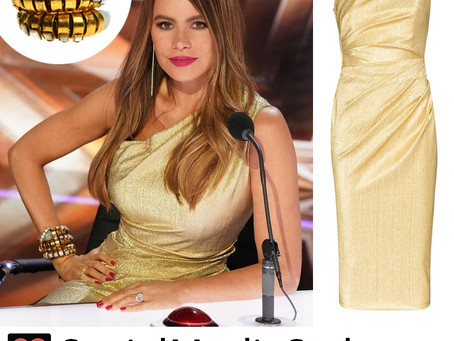 Sofia Vergara's snake bracelet and gold one shoulder dress from America's Got Talent