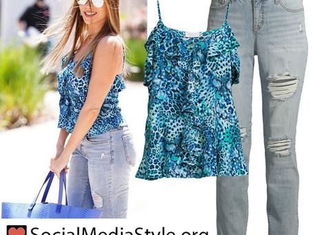 Sofia Vergara's blue leopard print tank top and distressed jeans