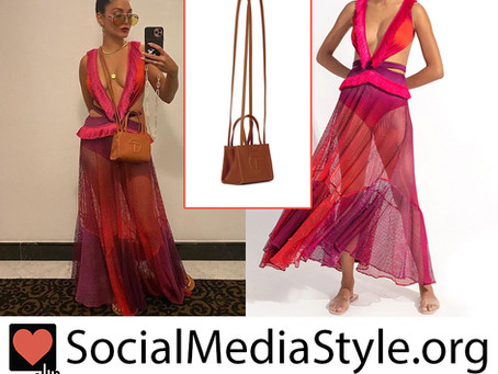 Vanessa Hudgens' cutout pink, orange, and purple mesh and fringe dress and brown purse