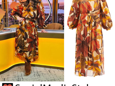 Drew Barrymore's floral print balloon sleeve dress from The Drew Barrymore Show