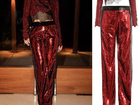 Jennifer Lopez's Balmain x Puma red embellished crop top and pants