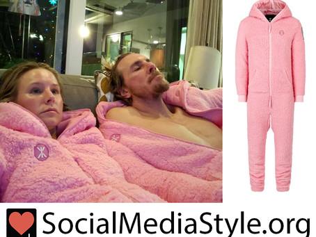 Kristen Bell and Dax Shepard's Onepiece pink teddy fleece jumpsuits