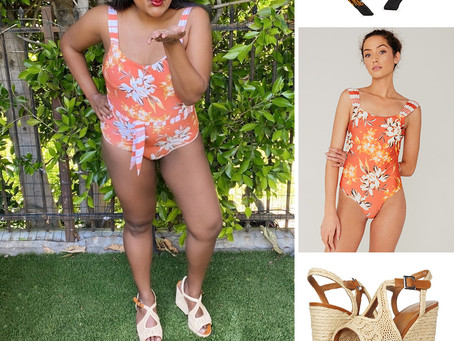 Mindy Kaling's orange floral print headband and swimsuit and espadrilles sandals