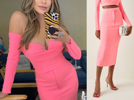 Sofia Vergara's pink off-the-shoulder top and pencil skirt from America's Got Talent