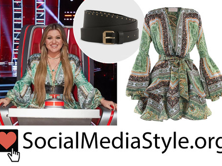 Kelly Clarkson's green print balloon sleeve dress and studded belt from The Voice