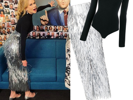 Nicole Kidman's black turtleneck bodysuit and silver fringe skirt from The Late Late Show