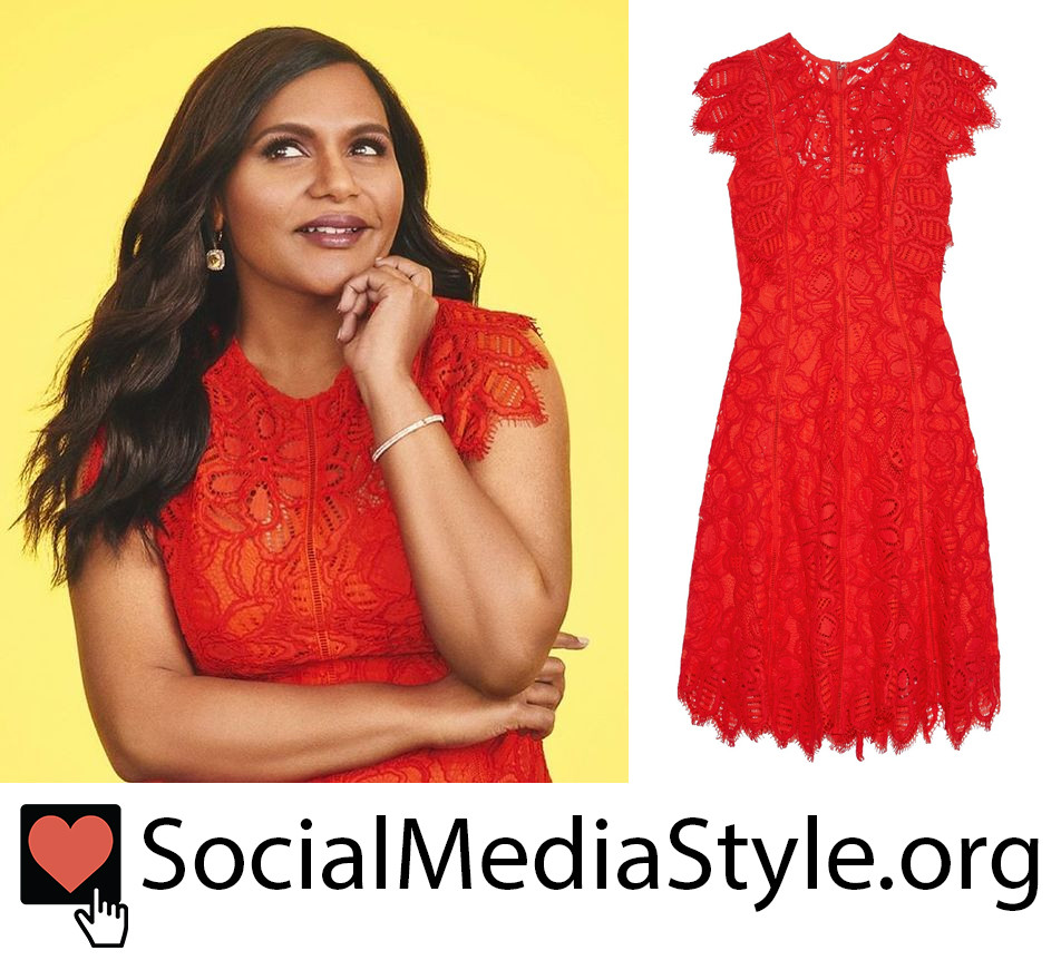Mindy Kaling S Red Lace Dress From The Cover Of Nothing Like I Imagined Except For Sometimes