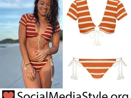 Gina Rodriguez's orange striped bikini
