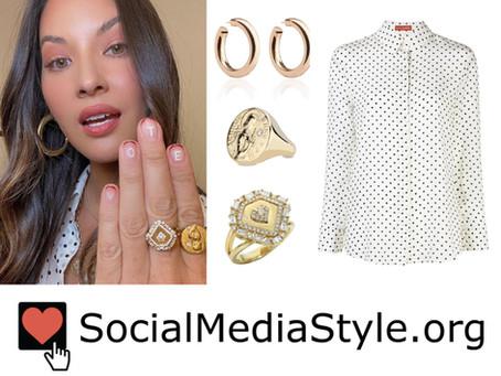Olivia Munn's polka dot shirt and jewelry