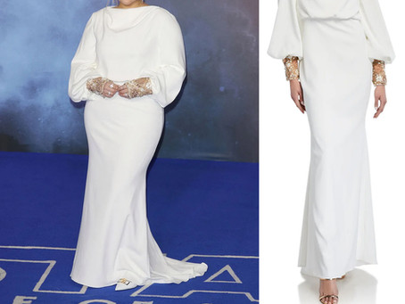 Meghan Trainor's white beaded cuff gown from the Star Wars: The Rise Of Skywalker European Premiere