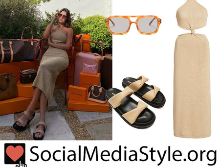 Kendall Jenner's twist-front cutout halterneck dress, aviators, and slide sandals