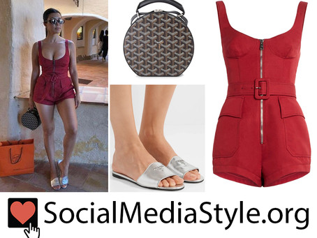 Kourtney Kardashian's red romper, hatbox bag, and silver slide sandals
