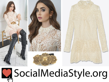 Lily Collins' off white crochet lace dress and gold detail belt