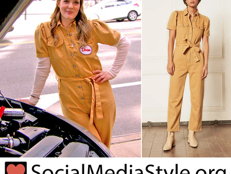 Drew Barrymore's yellow jumpsuit from The Drew Barrymore Show