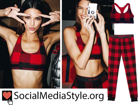 Kendall Jenner's buffalo plaid bralette and joggers