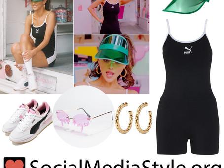 Selena Gomez's black romper and fun accessories from the Ice Cream video