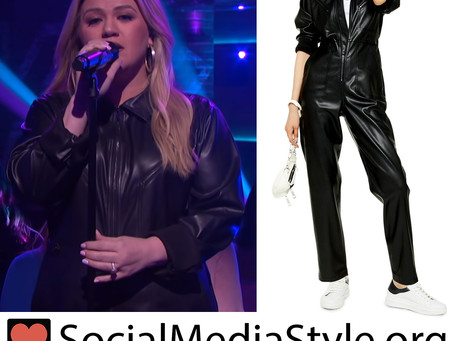 Kelly Clarkson's faux leather jumpsuit from The Kelly Clarkson Show