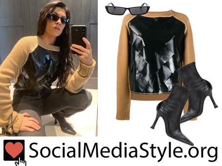 Kourtney Kardashian's narrow sunglasses, leather-front sweater, and black boots