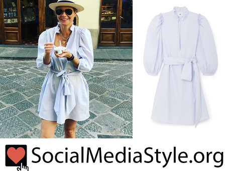 Gwyneth Paltrow's pale blue puff sleeve dress