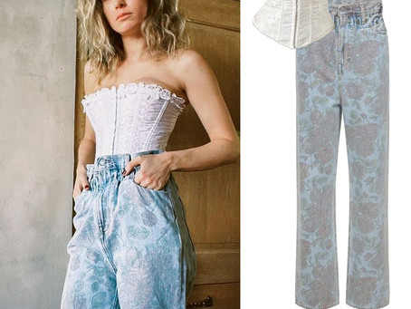 Brie Larson's white corset and floral print jeans