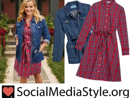 Reese Witherspoon's Draper James denim jacket and plaid dress