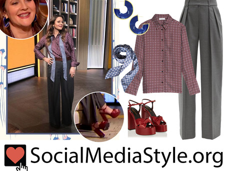 Drew Barrymore's blue earrings, geometric print shirt and scarf, grey pants, and red sandals